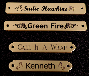 Brass engraved horse halter, bridle and stall nameplate horse show awards and barn gifts.