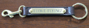 Leather snap key fob horse show award item or equestrian gift comes with a free brass engraved nameplate.