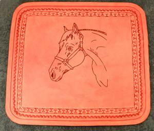 Leather engraved mouse pads make great barn gifts and horse show awards.