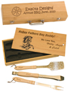 Engraved wood bbq gift set with bbq tools. Engraved horse design or breed logo. Plus you custom engraved text.