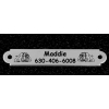 Engraved silver dog collar nameplate with custom engraved bulldog design.