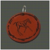 Circular Pendant on a Leather Necklace - Engraved Horse Design 4