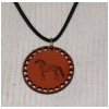 Circular Pendant on a Leather Necklace - Engraved Horse Design 6