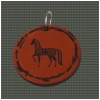 Circular Pendant on a Leather Necklace - Engraved Horse Design 7