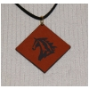 Engraved Diamond Leather Pendant Necklace - Horse Design 5