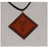 Engraved Diamond Leather Pendant Necklace - Horse Design 6