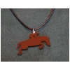 Custom cut Jumping Horse Leather Charm and Necklace