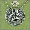 Sterling silver equestrian jewelry necklace featuring a Celtic horsesho