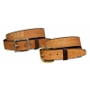 Full cork bridle leather lined belt with a brass or nickel silver buckle.