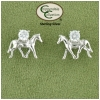 Trotting horse sterling silver equestrian jewelry earrings.