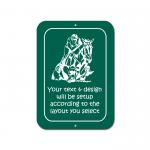 Custom engraved horse design 3 plastic sign with personalized engraved text.