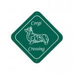 Custom engraved diamond design plastic sign with Welsh Corgi dog design and personalized text.