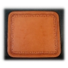 Rich Tan Leather Tooled Mouse Pad - Breed Logo