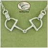 English Horse D Bit Snaffle Necklace - Sterling Silver - Equestrian Jewelry