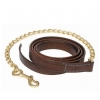 "Walsh Leather Lead Chain - 24"" Solid Brass Chain - Pony"
