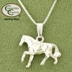 Cantering Horse Necklace - Sterling Silver - Equestrian Jewelry