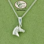 3D horse head sterling silver equestrian necklace. Quality horse jewelry necklace that features a 3D horse head.