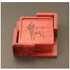 Rosewood Coasters & Holder - Toy Dog Design