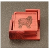 Rosewood Coasters & Holder - Misc Dog Design