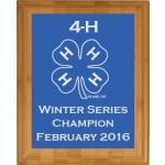 Custom Engraved Bamboo Plaque - 4-H Logo