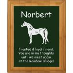 Pet Memorial Engraved Bamboo Plaque - Horse Design 4