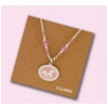 Cantering Horse Medallion Necklace - Pink. Adjustable equestrian horse jewelry fashion necklace.