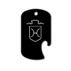 GI dog tag bottle opener key chain with personalized text and custom engraved horse breed logo.