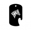 GI dog tag bottle opener key chain with personalized text and custom engraved horse design 2.