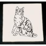 Personalized trivet / hot plate with custom engraved cat design and text.