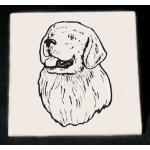 Personalized trivet / hot plate with custom engraved Golden Retriever dog design and text.