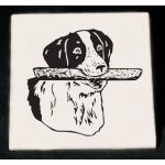 Personalized trivet / hot plate with custom engraved sporting dog design and text.