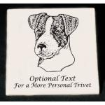 Personalized trivet / hot plate with custom engraved terrier dog design and text.
