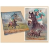 Zenyatta Giclee and the book Reflections on a Golden Age. Giclee and book are by horse racing artist Fred Stone.