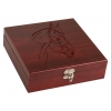 Personalized wood box with stainless steel flask gift set with custom engraved text and horse design.