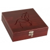 Personalized wood box with stainless steel flask gift set with custom engraved text and horse design 2.