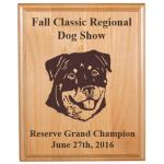 Custom Engraved Alder Award Plaque - Dog Designs 9