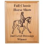 Engraved Alder Plaque - Horse Design