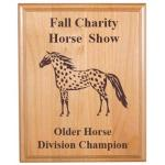 Custom Engraved Alder Plaque - Horses 6