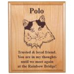 Pet Memorial Alder Plaque - Cat Design