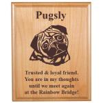 Pet Memorial Alder Plaque with Toy Dog Design