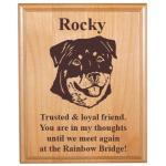 Pet Memorial Alder Plaque with Working Dog Design