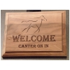 Custom engraved wood walnit plaque with your choice of personalized text and horse design 2.