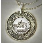 Jumping horse pewter equestrian necklace - horse jewelry.