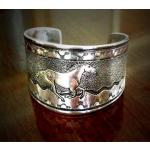 Native spirit horse pewter equestrian jewelry bracelet.