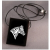 Large Black Onyx Engraved Pendant - Horse Design 2