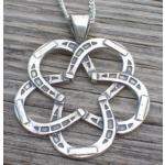 Lone star horseshoe sterling silver equestrian jewelry necklace. Made in the USA