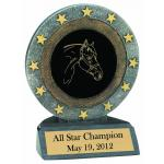 All Star Resin Trophy with Engraved Horse Design and Text