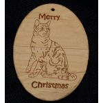 Custom engraved cat design wood Christmas ornament with personalized engraved text.
