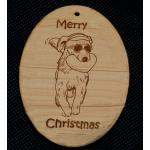 Custom engraved Golden Retriever dog design wood Christmas ornament with personalized engraved text.