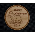 Custom engraved Terrier dog design wood Christmas ornament with personalized engraved text.